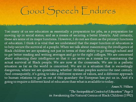 Good Speech Endures - Amos N Wilson - In Need of a New Education