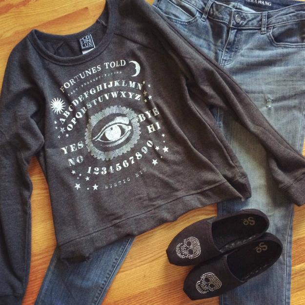 Ouija Board Sweatshirt + Skull Flats