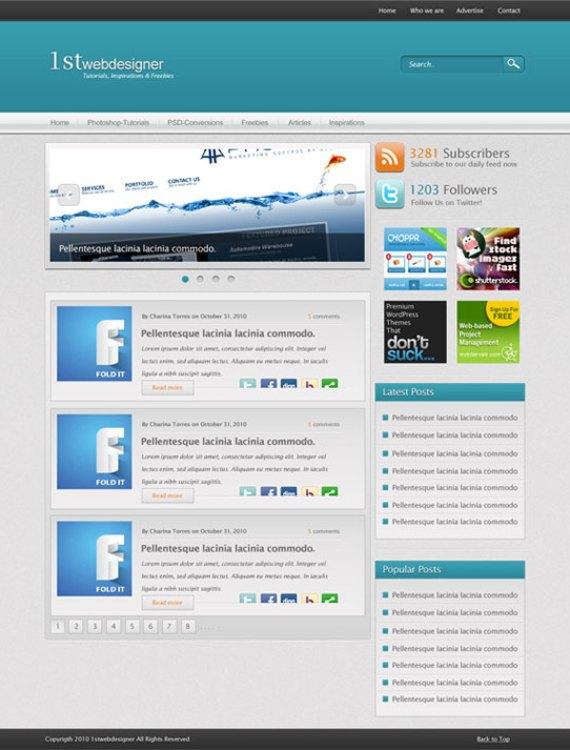 Blue wordpress layout