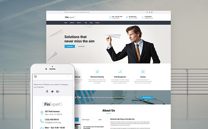 t - Financial Advisory Company Responsive WordPress Theme