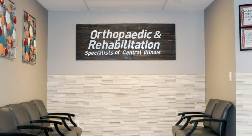 Orthopaedic and Rehabilitation Specialists of Central Illinois large sign in waiting room