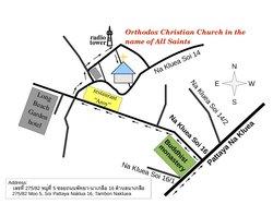 Карта-схема расположения храма во имя Всех Святых в Паттайе