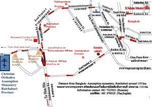 Карта-схема расположения Свято-Успенского монастыря в провинции Ратчабури