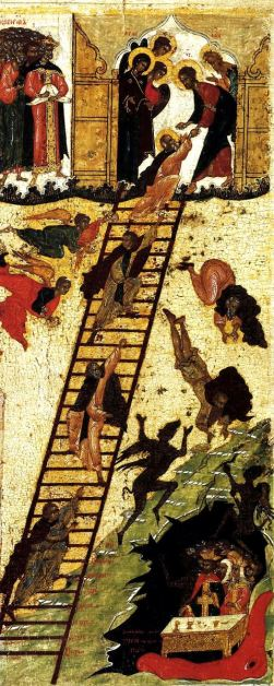004 Ladder of Divine Ascent - ancient Russian icon cropped