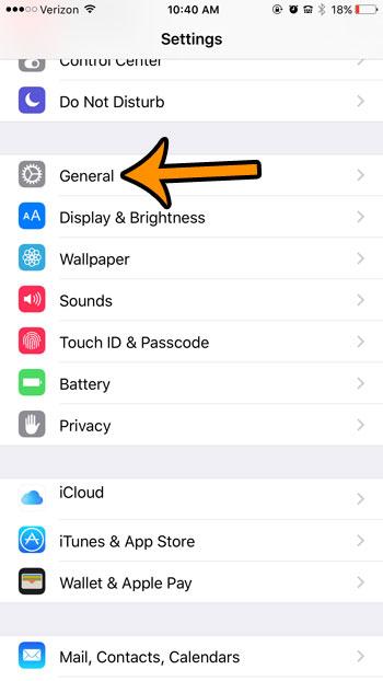 iphone general menu