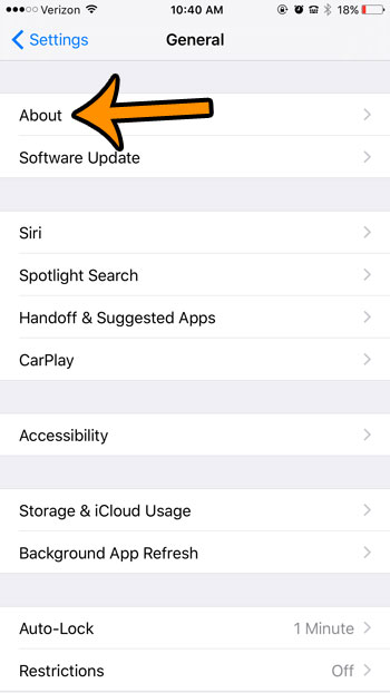 iphone about menu