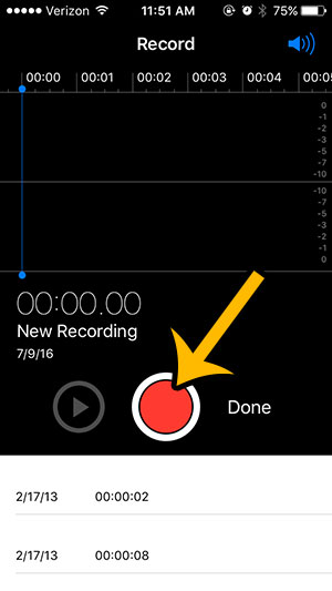 recording on an iphone - step 2