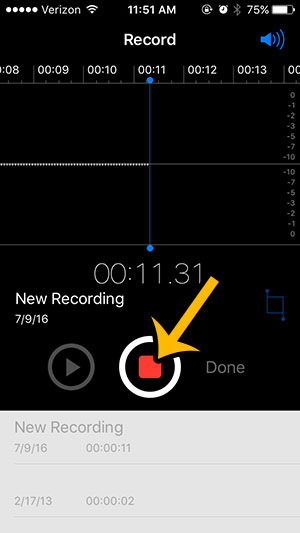 how to use the iphone voice recorder - step 3