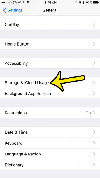 open storage and icloud usage menu