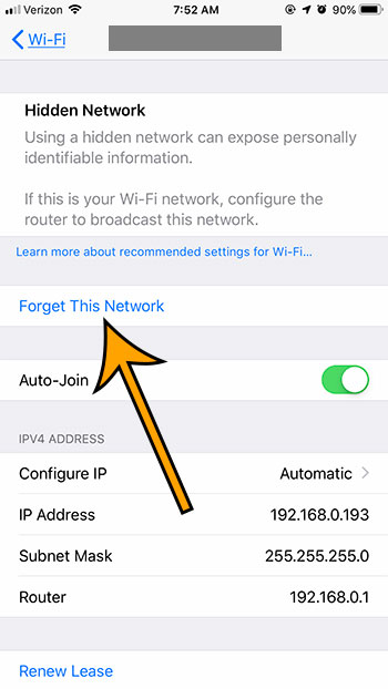 choose the forget network option