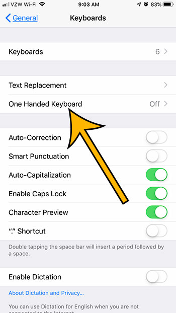 how to enable the one handed keyboard on an iphone 7