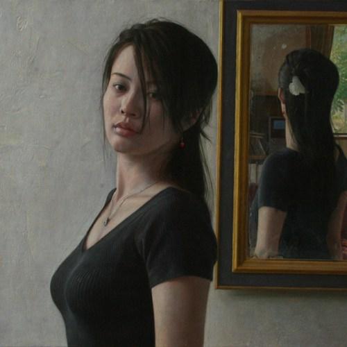 2009年「むこう」F10号 パネル、白亜地、油彩