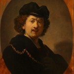 2011年 模写ーレンブラント「縁なし帽をかぶり、金の鎖をつけた自画像」55x42cm パネル、油彩