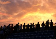 USオープンテニス2014年決勝戦後の夕焼け空