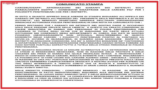 COMUNICATO STAMPA – AFFERMAZIONI GARANTI DEI DETENUTI PARZIALMENTE ESATTE: CONDIZIONI DISASTRATE PIU' PER I POLIZIOTTI PENITENZIARI, CHE PER I DETENUTI