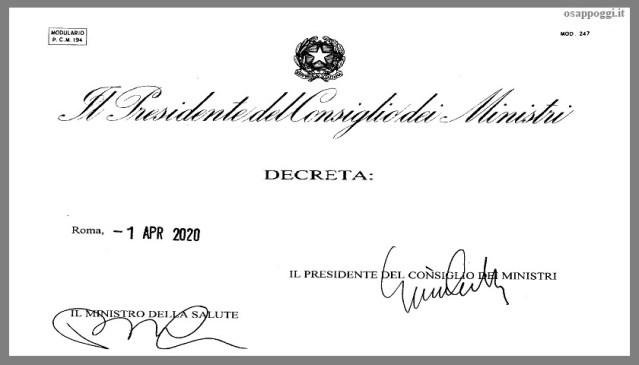 DECRETO DELLA PRESIDENZA DEL CONSIGLIO DEI MINISTRI – 1 Aprile 2020