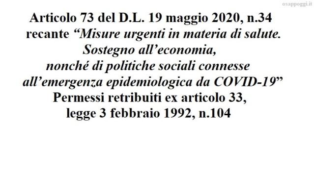 Permessi retribuiti ex articolo 33, legge 3 febbraio 1992, n.104