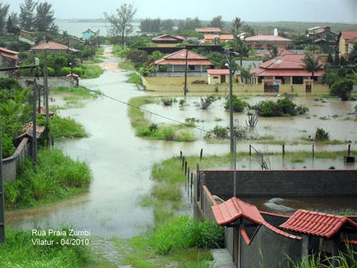 O bairro de Vilatur invadido pelas águas da chuva. Foto gentilmente cedida por Jorge Stockler.