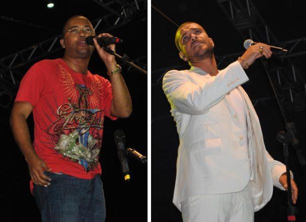 A esquerda, Dudu Nobre cantou  sucessos populares. A direita, Mesmo com chuva, Diogo  Nogueira foi sensação. (Fotos: Angelo Quintela)