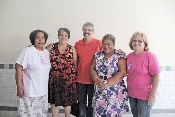 As representantes do MAMAS com  a deputada estadual Inês Pandeló,  o presidente da Câmara Paulo Renato e a diretora da FAETEC Sandra Santana (Foto: Edimilson Soares)