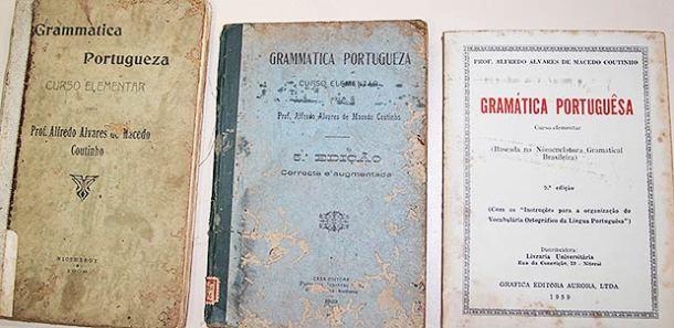 Na biblioteca do colégio ainda são encontradas as raríssimas  edições da gramática do autor