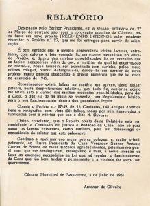 Relatório assinado pelo  então vereador Antenor  de Oliveira.