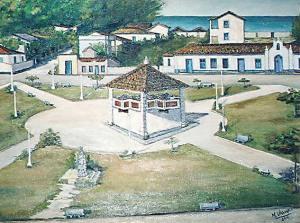 Tela de Martinha Vignoli retratando a Praça Oscar  de Macedo Soares.