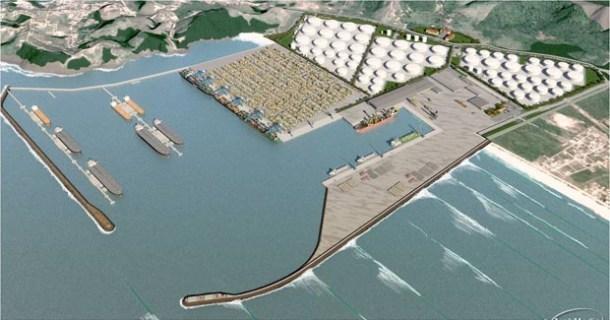 Porto ficará próximo ao Costão de Jaconé ( Ilustração/DTA Engenharia)