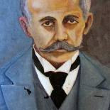 O maestro Francisco Vignoli, retratado pelo pintor e ex-vereador Antenor de Oliveira. Fotos: Arquivo Pessoal de Silênio Vignoli