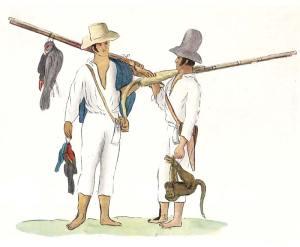 Caçadores desenhados pelo naturalista Maximiliano, o Príncipe  de Wied