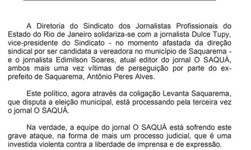 Sindicato dos Jornalistas  defende o jornal O SAQUÁ