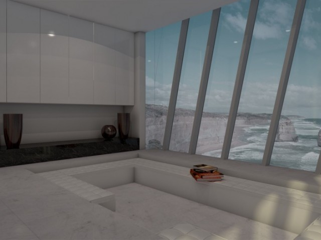 "Футуристична къща на 5 нива ""виси"" от скала над океана"