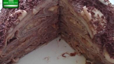Рецепта как да приготвим палачинкова торта с шоколадов крем и карамелизирани ябълки