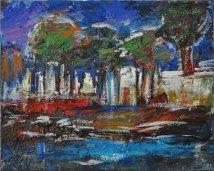 In riva al fiume, Acrilico su tela, cm.40x50, 2016