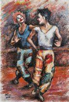 La danza dei clowns,, Olio su carta a mano, cm.51×36, 2008
