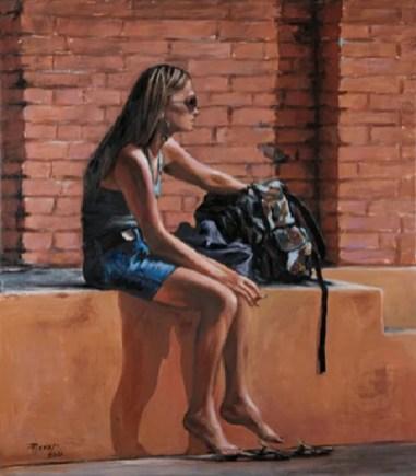 LA RAGAZZA CON LO ZAINO E SIGARETTA, Acrilico su tela, cm.80x70, 2010 ■