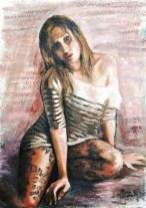 MAGLIETTA A RIGHE, Olio su carta a mano, cm.72×51, 2010