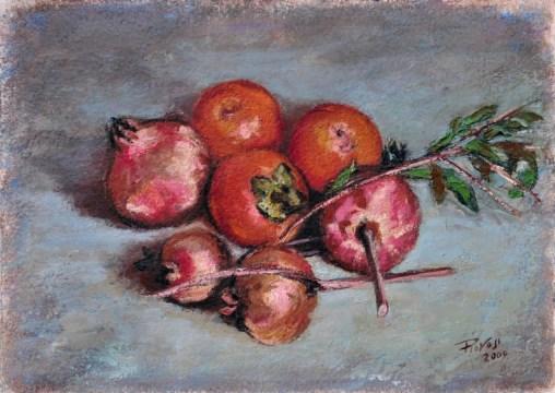 MELOGRANI E CACHI, Oil on handmade paper, cm.36x51, 2009