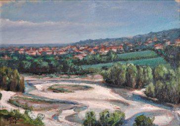 SAN POLO SULLO SFONDO DELL'ENZA, Olio su carta a mano, cm.37×52, 2008