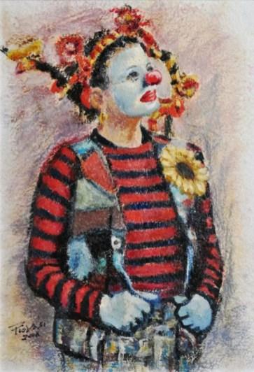 TRECCE LUNGHE, Olio su carta a mano, cm.52×36, 2008