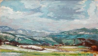 ULTIMA NEVE NELLE COLLINE PARMENSI, Olio su carta a mano, cm.30×51, 2009