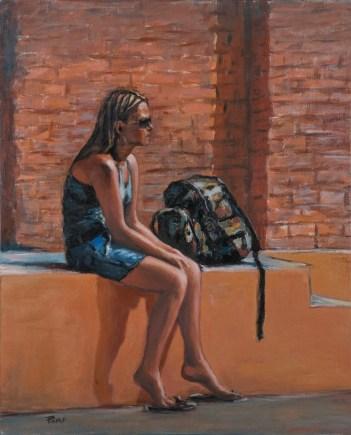 LA RAGAZZA CON LO ZAINO, Acrilico su tela, cm.50x77, 2010 ■