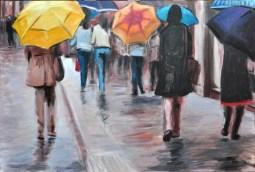 UN GIORNO DI PIOGGIA, Acrylic on canvas, cm.60x90, 2010