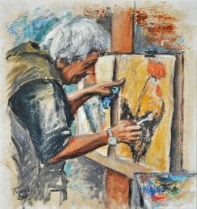 Andrea il grosso, Oil on handmade paper, cm.52×49, 2008