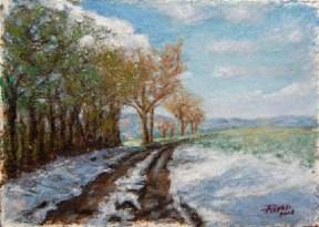 Le colline di Bazzano, Oil on handmade paper, cm.36x51, 2008 ■