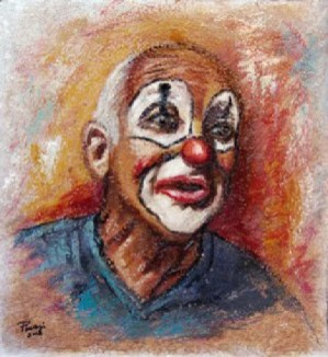 TROMBETTA, Oil on handmade paper, cm.51×48, 2008