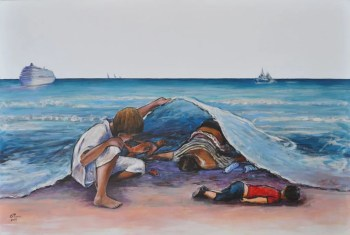 MARE NOSTRUM 2018, Acrylic on canvas, Cm.100x150, 2018