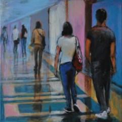 IN GALLERIA, Acrylic on canvas, cm 30x30, 2019