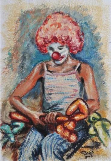 LA PICCOLA DEI PALLONCINI, Olio su carta a mano cm.52×36, 2008
