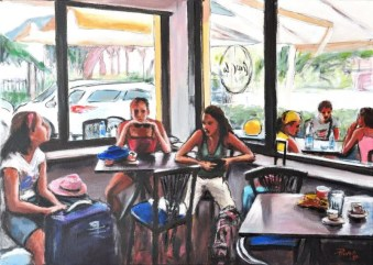 UN GIORNO AL BAR DELLA STAZIONE, Acrylic on canvas, cm.50x70. 2010